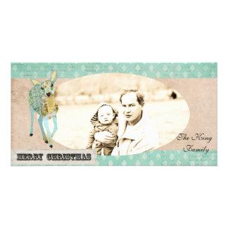 Tarjeta de oro de la foto del navidad de los cierv tarjetas personales con fotos