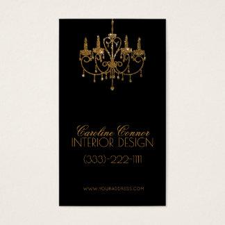 Tarjeta de oro del negro del interiorista de la