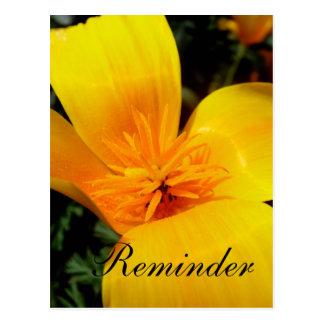 Tarjeta de oro del recordatorio de la flor postal