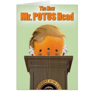 Tarjeta de papel del chiste de Sr. Potus Head