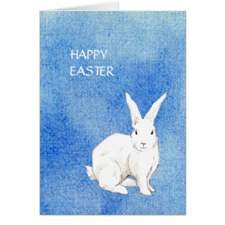 Tarjeta de pascua azul del conejo