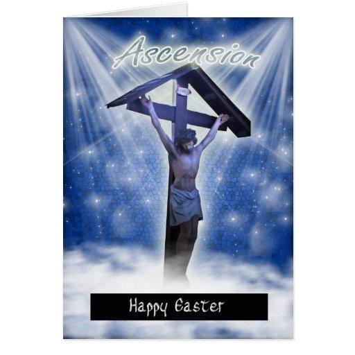 Tarjeta de pascua con la ascensión religiosa de Je