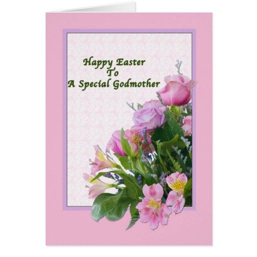 Tarjeta de pascua de la madrina con las flores de