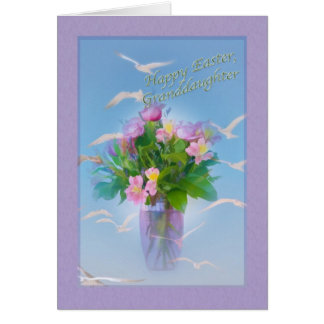 Tarjeta de pascua de la nieta con las flores y los
