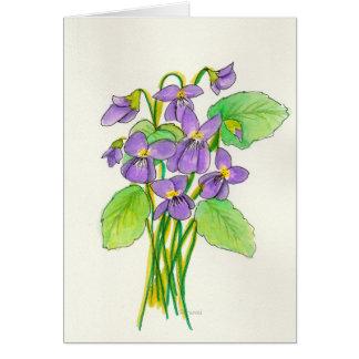 Tarjeta de pascua de las violetas de la acuarela