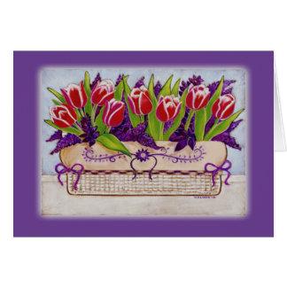 Tarjeta de pascua de los tulipanes de la primavera