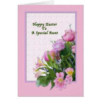 Tarjeta de pascua de tía con las flores de la