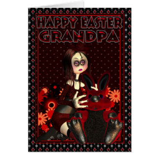 Tarjeta de pascua del abuelo - polluelo gótico y P