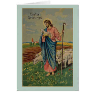 Tarjeta de pascua del pastor de Jesús del vintage