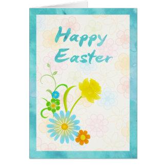 Tarjeta de pascua feliz de las flores azules y