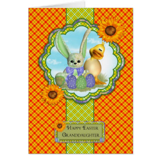 Tarjeta de pascua linda de la nieta con el conejo