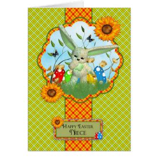 Tarjeta de pascua linda de la sobrina con el conej