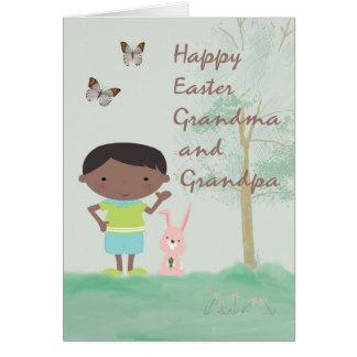 Tarjeta de pascua para la abuela y el abuelo del