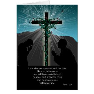 Tarjeta de pascua religiosa - rogación y cruz