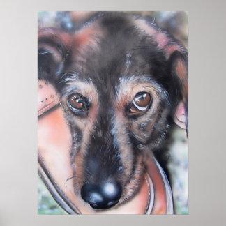 tarjeta de perro basset perro de tejado Sausage Póster