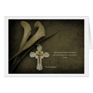 Tarjeta de pésame Calla y cruz