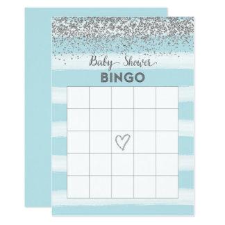 Tarjeta de plata y azul del bingo de la fiesta de