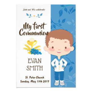 tarjeta de primera comunión para niño