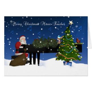 Tarjeta de profesor de música con Santa que juega