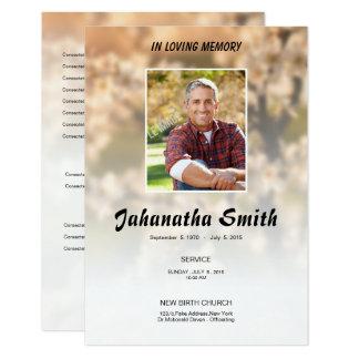 Tarjeta de programa fúnebre conmemorativa elegante invitación 8,9 x 12,7 cm