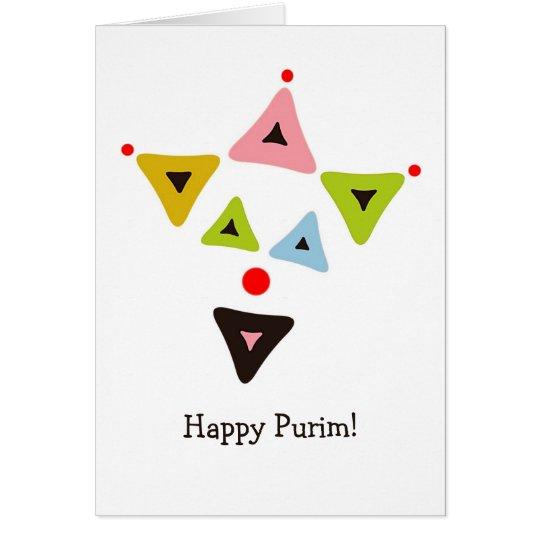 Tarjeta de Purim del payaso de Hamantaschen