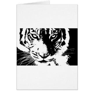 Tarjeta de regalo con un tigre blanco y negro de