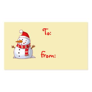 Tarjeta de regalo linda del muñeco de nieve del tarjetas de visita