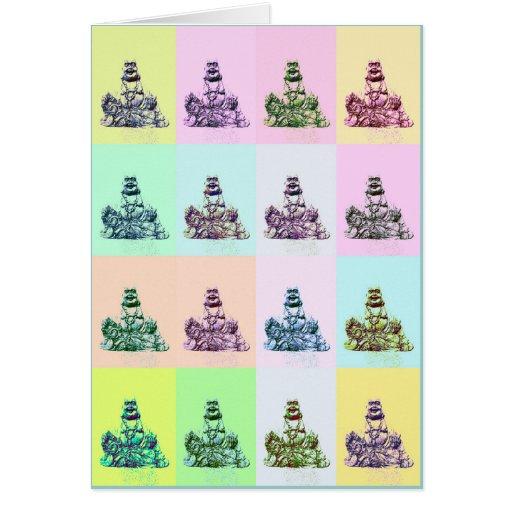 Tarjeta de risa del arte pop de Buda (espacio en b