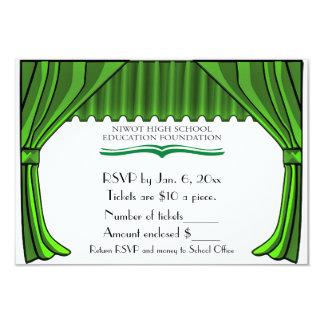 Tarjeta de RSVP de las cortinas del teatro del Invitación 8,9 X 12,7 Cm