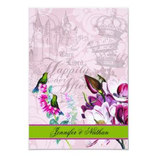 Tarjeta de RSVP de las magnolias de los colibríes Invitación 8,9 X 12,7 Cm
