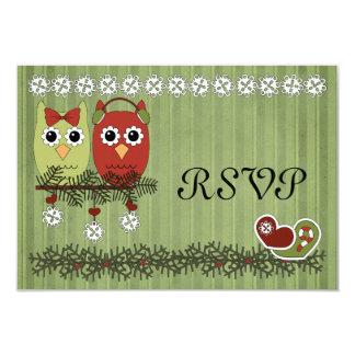 Tarjeta de RSVP de los búhos del navidad Invitación 8,9 X 12,7 Cm