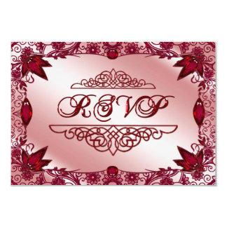 Tarjeta de RSVP del aniversario de boda del rubí Invitación 8,9 X 12,7 Cm