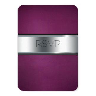 Tarjeta de RSVP del boda, Borgoña elegante y plata