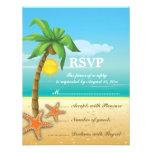 Tarjeta de RSVP del boda de playa de la palmera y  Comunicado
