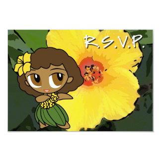 Tarjeta de RSVP del chica de Hula de las mieles de Invitación 8,9 X 12,7 Cm