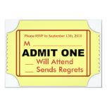 Tarjeta de RSVP del cine Invitación 8,9 X 12,7 Cm