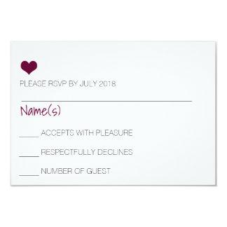 Tarjeta de RSVP del corazón de Borgoña Invitación 8,9 X 12,7 Cm