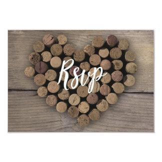 Tarjeta de RSVP del corazón del corcho del vino Invitación 8,9 X 12,7 Cm