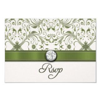 Tarjeta de RSVP del damasco del verde de musgo Anuncios Personalizados