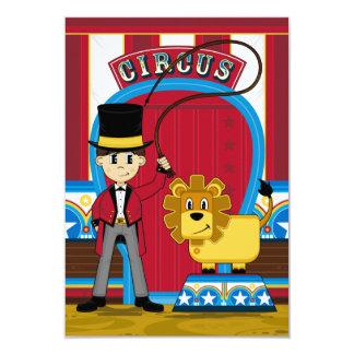 Tarjeta de RSVP del director de pista de circo y Invitación 8,9 X 12,7 Cm