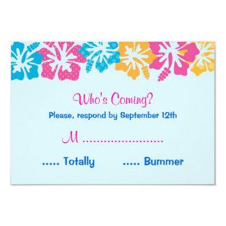 Tarjeta de RSVP del dulce dieciséis del hibisco de Invitación 8,9 X 12,7 Cm