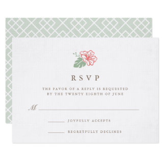 Tarjeta de RSVP del hibisco de la isla Invitación 8,9 X 12,7 Cm