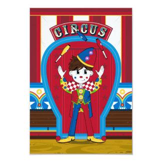 Tarjeta de RSVP del payaso de circo que hace Invitación 8,9 X 12,7 Cm