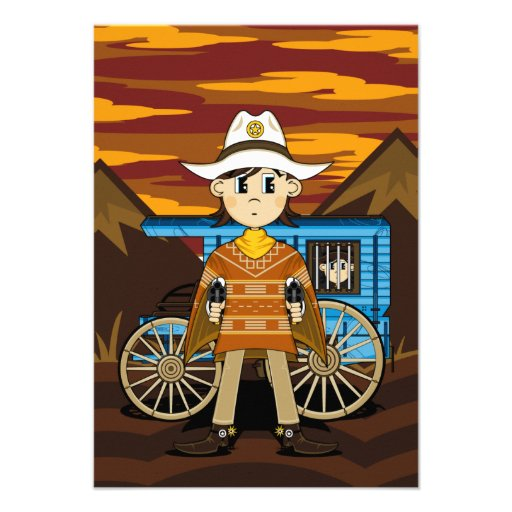 Tarjeta de RSVP del sheriff y del carro del vaquer Invitación