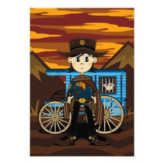 Tarjeta de RSVP del sheriff y del carro del vaquer Anuncios