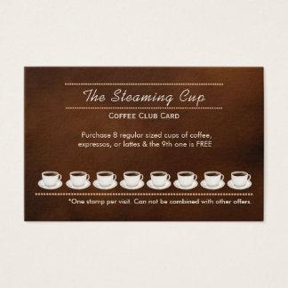 Tarjeta de sacador de la cafetería