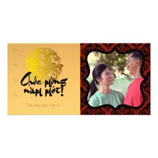 Tarjeta de saludo del marco de la foto del gallo tarjetas personales