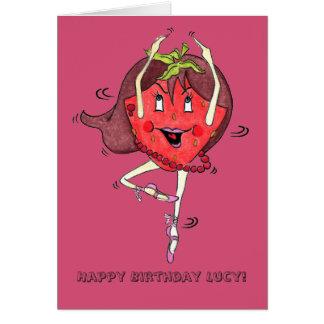 """Tarjeta de Scarlett """"B.day feliz"""" de la fresa"""
