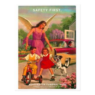 Tarjeta de seguridad retra de la funeraria del kit postales