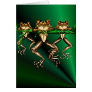 Tarjeta de tres ranas